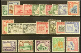 1938-55 KGVI Definitives Complete Set, SG 249/66b, Fine Mint, Many Stamps (including 10s & £1) Never Hinged. (22 Stamps) - Fiji (...-1970)
