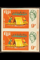 1968 9d Bamboo Raft Boat IMPERFORATE PAIR, SG 377 Unlisted Variety, Lightly Hinged Mint With BPA Certificate. For More I - Fiji (...-1970)