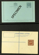 """POSTAL STATIONERY 1890's-1980's All Different Fine Mint Group On Stock Pages, Includes Letter Card 2d KGV With """"SPECIMEN - Fiji (...-1970)"""