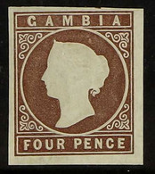 "1874 4d Brown ""embossed"", CC Wmk, Imperf, SG 5, Four Wide Margins, Unused (no Gum) Accompanied By BPA Photo Certificate. - Gambia (...-1964)"