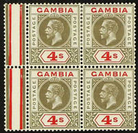 1921-22 4s Black And Red, Watermark Inverted, SG 117w, Marginal BLOCK OF FOUR Fine Mint, The Lower Pair Never Hinged. Fo - Gambia (...-1964)