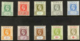1921-22 Definitives Complete Set, Watermark Mult Script CA, SG 108/17, Fine Mint. (10 Stamps) For More Images, Please Vi - Gambia (...-1964)
