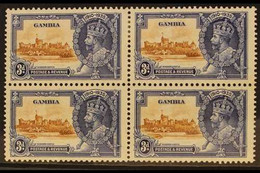 """1935 SILVER JUBILEE VARIETY. 3d Brown & Deep Blue, Block Of 4, Lower Left Stamp With """"SHORT EXTRA FLAGSTAFF"""" Variety, SG - Gambia (...-1964)"""