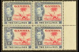 1938-46 2s Carmine & Blue, SG 157, Never Hinged Mint Marginal Block Of 4 (4) For More Images, Please Visit Http://www.sa - Gambia (...-1964)