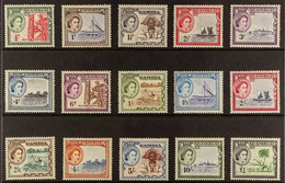 1953-59 QEII Pictorial Definitive Complete Set, SG 171/185, Never Hinged Mint (15 Stamps) For More Images, Please Visit  - Gambia (...-1964)
