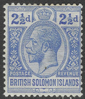 British Solomon Islands. 1914-23 KGV. 2½d MH. Crown CA W/M SG 27 - British Solomon Islands (...-1978)