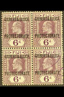 1911 6d Dull And Bright Purple, Overprinted, SG 6, Superb Used Block Of 4 With Violet Protectorate Cancels. For More Ima - Gilbert & Ellice Islands (...-1979)