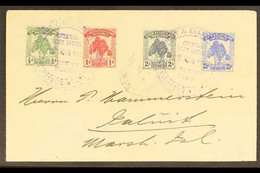 1912 (12 March) An Attractive And Neat Envelope To Jaluit, Marshall Is, Bearing Pandanus Pine Set, SG 8/11, Tied Large T - Gilbert & Ellice Islands (...-1979)