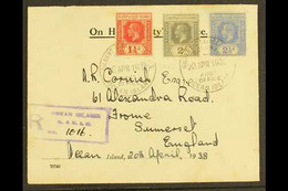 OCEAN ISLAND 1938 (20th April) KGV Late Use Registered OHMS Cover To Somerset, England Bearing 1912-24 Die I 2d Greyish  - Gilbert & Ellice Islands (...-1979)