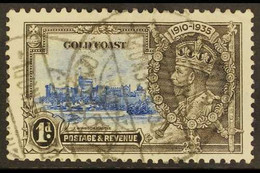"""1935 JUBILEE VARIETY. 1d Ultramarine And Grey Black, Silver Jubilee, Variety """"Extra Flagstaff"""", SG 113a, Fine Used With  - Gold Coast (...-1957)"""