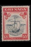 1938-50 10s Slate-blue & Bright Carmine Narrow Frame Perf 14 Blurred Centre 10/9/43 Printing (SG 163b, MP CW 25), Superb - Grenada (...-1974)
