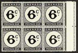 "POSTAGE DUES 1952 6c Black, Marginal Block Of 6, One Showing The Variety ""Error. St Edward's Crown"" In Wmk, SG D17b, Nev - Grenada (...-1974)"