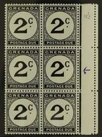 "POSTAGE DUES 1952 2c Black, Marginal Block Of 6, One Showing The Variety ""Error. St Edward's Crown"" In Wmk, SG D15b, Nev - Grenada (...-1974)"
