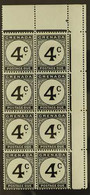 "POSTAGE DUES 1952 4c Black, Corner Marginal Block Of 8, One Showing The Variety ""Error. St. Edward's Crown"" In Wmk, SG D - Grenada (...-1974)"