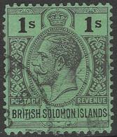 British Solomon Islands. 1922-31 KGV. 1/- Used. Script CA W/M SG 48 - British Solomon Islands (...-1978)