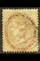 """1870-83 1s Dull Brown, Variety """"$"""" For """"S"""", SG 13a, With Neat Light """"A01"""" Cancel, Very Scarce. For More Images, Please V - Jamaica (...-1961)"""
