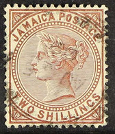 1905-11 2s Venetian Red Queen, SG 55, Fine Cds Used. For More Images, Please Visit Http://www.sandafayre.com/itemdetail - Jamaica (...-1961)