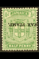 1916 ½d Yellow-green War Stamp With OVERPRINT INVERTED Variety, SG 68c, Mint. For More Images, Please Visit Http://www.s - Jamaica (...-1961)