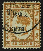 1892 2c On 40c Ochre, SG 49, Very Fine Used. For More Images, Please Visit Http://www.sandafayre.com/itemdetails.aspx?s= - North Borneo (...-1963)