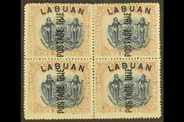 POSTAGE DUE 1901 24c Blue And Lilac-brown, Perf 14½-15, SG D9b, Fine Mint BLOCK OF FOUR, Some Vertical Perf Separation.  - North Borneo (...-1963)