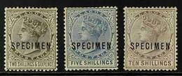 "1884-86 2s6d Olive-black, 5s Blue And 10s Purple-brown Top Values With ""Specimen"" Overprints Complete Set, SG 27s/29s, M - Nigeria (...-1960)"