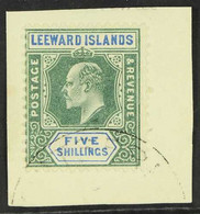 1902 5s Green And Blue, Wmk CA, Ed VII, SG 28, Very Fine Used On Piece. For More Images, Please Visit Http://www.sandafa - Leeward  Islands