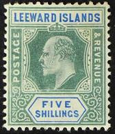 1902 5s Green & Blue KEVII, SG 28, Fine Mint, Fresh. For More Images, Please Visit Http://www.sandafayre.com/itemdetails - Leeward  Islands