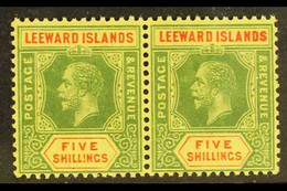 1914 5s Green And Red / Yellow, SG 57, Never Hinged Mint PAIR. For More Images, Please Visit Http://www.sandafayre.com/i - Leeward  Islands