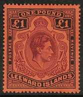 1938 £1 Brown- Purple And Black On Red, SG 114, Very Fine Mint. For More Images, Please Visit Http://www.sandafayre.com/ - Leeward  Islands
