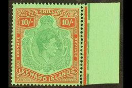 1938-51 10s Bluish Green And Deep Red On Green Key Type Chalky Paper Position 24, SG 113, Fine Never Hinged Mint Margina - Leeward  Islands