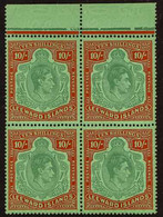 1938-51 10s Deep Green & Deep Vermilion On Green Ordinary Paper, SG 113c, Superb Never Hinged Mint Upper Marginal BLOCK  - Leeward  Islands