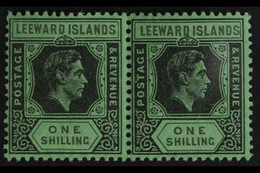 1938-51 1s Black & Grey On Emerald KGVI, SG 110bb, Never Hinged Mint Horizontal PAIR, Very Fresh. (2 Stamps) For More Im - Leeward  Islands