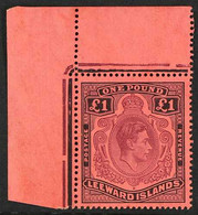 1942 £1 Purple And Black On Carmine Key Plate, SG 114a, Upper Left Corner Example, The Stamp Never Hinged Mint. For More - Leeward  Islands