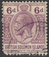 British Solomon Islands. 1922-31 KGV. 6d Used. Script CA W/M SG 47 Damaged Bottom Left Corner - British Solomon Islands (...-1978)