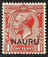 """1916 VARIETY 1d Carmine Red, Type I Opt, Variety """"double Ovpt, One Albino"""", SG 2cb, Never Hinged Mint With Certificate S - Nauru"""