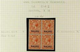 """1916 VARIETY BLOCK OF 4 2d Orange Die I, Variety """"Wmk Inverted And Reversed"""", SG 4y, NEVER HINGED MINT Block Of 4, With  - Nauru"""