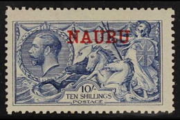 "1916-23 10s Pale Blue Seahorse (DLR Printing) With Red ""NAURU"" Overprint, SG 23, Fine Mint For More Images, Please Visit - Nauru"