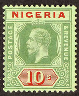 1914-29 10s Green & Red On Emerald (pale Olive Back), SG 11c, Fine Mint, Very Fresh. For More Images, Please Visit Http: - Nigeria (...-1960)