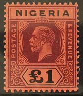 1929 £1 Purple & Black/red, MCA Wmk, Die II, SG 12ba, Very Fine Mint For More Images, Please Visit Http://www.sandafayre - Nigeria (...-1960)