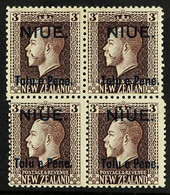 1917 3d Chocolate, Two Perf. Block Of Four, SG 22c, Fine Mint. For More Images, Please Visit Http://www.sandafayre.com/ - Niue