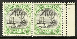 1932 ½d Black And Emerald Pictorial, Horizontal Pair With Right Sheet Margin, Perforated 14 Between Stamp And Margin, SG - Niue