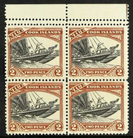 1932 2d Black And Red-brown Pictorial, Upper Marginal Block Of Four, Perforated 14 Between Stamps And Top Margin, SG57a - Niue