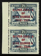 1935 2½d Dull And Deep Blue Silver Jubilee, SG 70, Left Marginal Vertical Pair, Imperforate Horizontally, Very Fine Mint - Niue