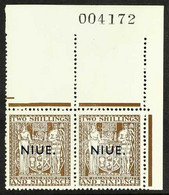 1941 2s.6d Deep Brown Postal Fiscal, Single Line Watermark With Type 17 Thin Overprint, SG 79, Never Hinged Mint Upper R - Niue