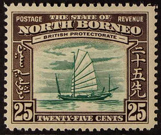 1939 25c Green & Chocolate Native Boat Pictorial With VIGNETTE PRINTED DOUBLE ONE ALBINO Variety, SG 313a, Very Fine Min - North Borneo (...-1963)