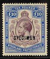 """1913 £10 Purple And Dull Ultramarine, Wmk MCA, Ovptd """"Specimen"""", Geo V, SG 99s, Fine Mint. For More Images, Please Visit - Nyasaland (1907-1953)"""