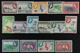 1953-54 Definitive Set Complete, SG 173/187, Never Hinged Mint (15 Stamps). For More Images, Please Visit Http://www.san - Nyasaland (1907-1953)