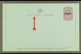 "1914 LETTER CARD 1d Dull Claret On Blue, Inscription 94mm, H&G 1a, Unused, Broken Second ""T"" In ""LETTER CARD,"" Light Hin - Samoa"