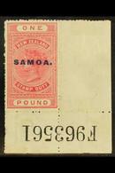 1914-24 £1 Rose-carmine Postal Fiscal, Perf 14, SG 126, Fine Mint, A Few Wrinkles, But A Rare Complete Sheet Number Corn - Samoa
