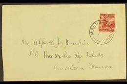 "1930 (Jun) Env. To American Samoa, Franked Samoa 1921 1d Hut, ""MALUA"" Postmark With Apia Transit Mark Of 10 Jun On Rever - Samoa"